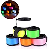 Esonstyle Pack of 6 LED Light Up Band Slap Bracelets Night Safety Wrist Band for Cycling Walking Running Concert Camping…