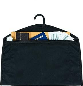 JUGREAT Hanger Diversion Safe, Hidden Pocket Safe,Water Resistant Secret Document Holder Zipper Pouch, Under Hanging Clothes with Pocket to Hide Valuables for Travel or Home(1 Pack)