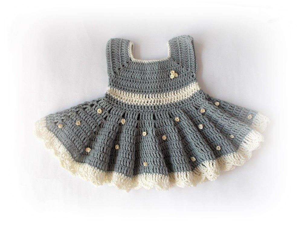Amazoncom Crochet Baby Dress Newborn Dresses Gray Baby Dress