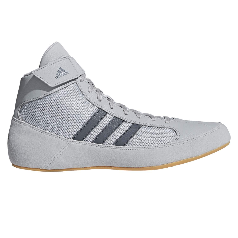adidas Men's Boy's HVC2 Wrestling Mat Shoe Ankle Strap (Light Gray/Onyx, 12) by adidas