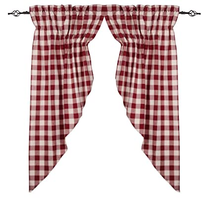 Home Collections by Raghu 72x63 (2 pcs), Buffalo Check Barn Red-Buttermilk Gathered Swag