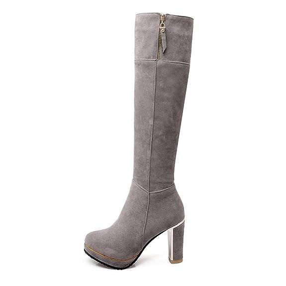 AgooLar Damen Reißverschluss Rinder Rein Stiefel mit Metallisch, Grau, 39