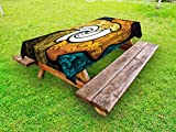 Lunarable Trippy Outdoor Tablecloth, Pop Art Style Funky Unusual Stained Glass Window Thai Art Pattern Traditional Image, Decorative Washable Picnic Table Cloth, 58 X 120 inches, Multicolor