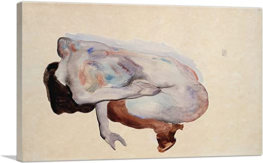 ARTCANVAS Stehende Frau in Rot 1913 Canvas Art Print by Egon Schiele
