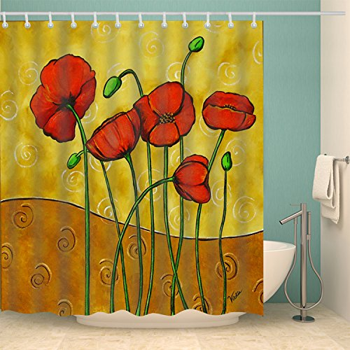 Modern Printed Poppies (BROSHAN Watercolor Flower Shower Curtain,Vintage Floral Printed Retro Poppy Colorful Petal with Buds Elegant Nature Design,Polyester Waterproof Fabric Bathroom Decor Set with Hooks,72x72 Inch)
