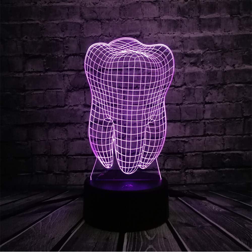 KangYD Lámpara de ilusión LED de nuevo diente/Atmósfera 3D Luz ...