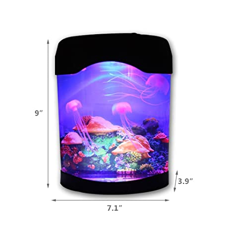 GKPLY USB Desktop Art Decor Simulation Aquarium, Illuminated Jellyfish Lamp Acuario Luz De Estado De