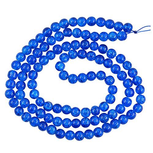 Homyl 8mm Gorgeous Crackle Lampwork Glass Round Beads 1.3mm Hole, for Handmade Earring Hair Jewelry, DIY Charms, Necklace, Bracelet, Anklets, Beaded Case, Making Crafts - navy blue