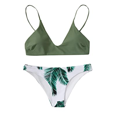 MAKEMECHIC Women's Tropical Print V Neck Bikini 2 Piece Swimsuit Set: Clothing