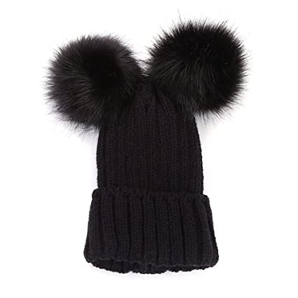 0e7192dd2ad Image Unavailable. Image not available for. Color  Clearance! Women Teen Girls  Winter Wool Knit Hat Lovely Raccoon Fur Double Big Ball Pompom