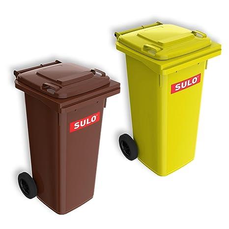 Lote de 2 cubos de basura 2 ruedas, contenedor a basura SULO 120 L,