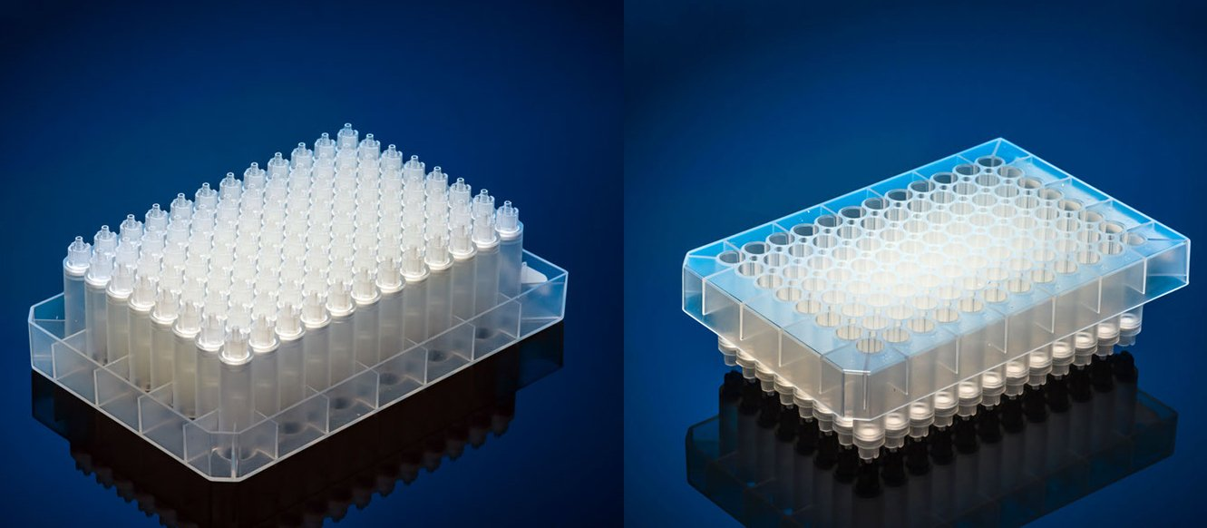 Agilent polypropylene 96-well half skirt filter microplate with 25µm polyethylene frit, 1ml/well, long drip with turbine, case of 35, recommended receiver plate 201276-100