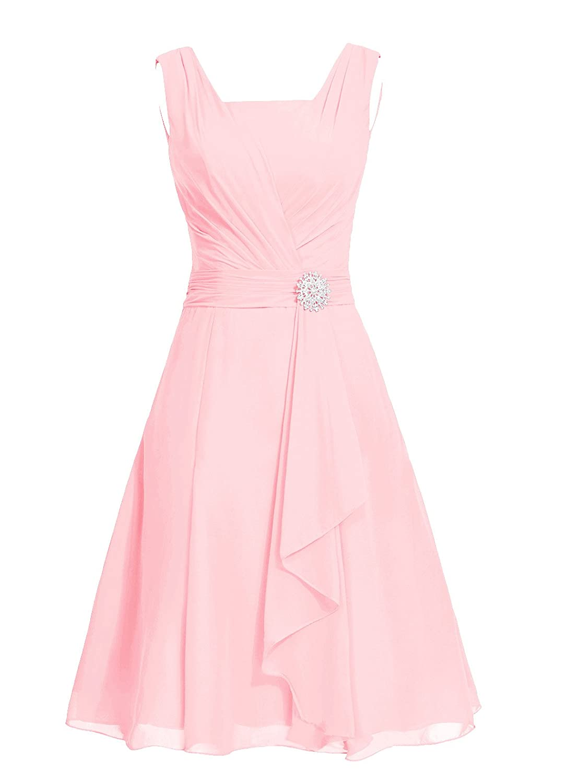 Dresstell レディーズ ショート丈 お呼ばれ 結婚式ドレス シンプルシフォン ビスチェタイプ 披露宴 フォーマルドレス 袖なし ビジュー付き ブライズメイドドレス 二次会ドレス B0114FTFG4 JP5|ピンク ピンク JP5