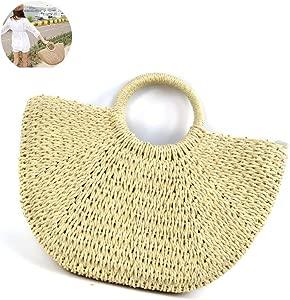 Beito Bolso de paja 1PC Natural Chic paja bolso semicírculo handwoven bolso de mano retro bolsos de gran capacidad casual verano bolsa de playa para ...