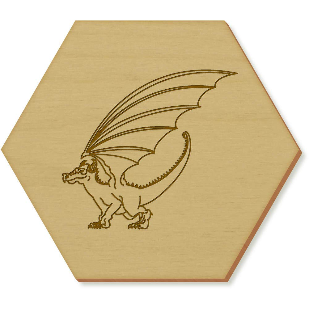 6 X Winged Dragon 95mm Hexagon Wooden Coasters Cr00000648