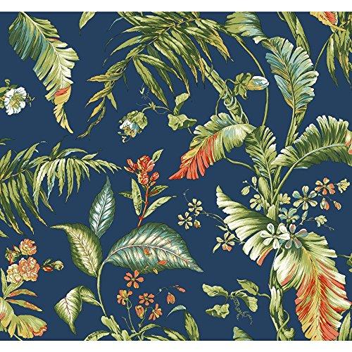 Blue Garden Wallpaper - York Wallcoverings AT7094 Tropics Fiji Garden Wallpaper, Deep Blue/Yellow/Green To Dark Green/Aqua/White