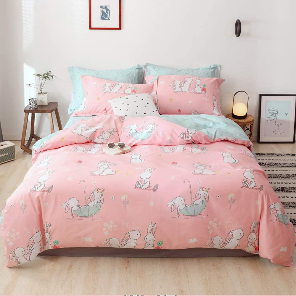 EnjoyBridal Rabbit Bedding Sets Queen Flower Teens Comforter Cover Queen with 4 Corner Ties 100% Cotton Girls Duvet Cover Full for Kids Toddler Breathable Quilt Cover Pink Green, No Comforter
