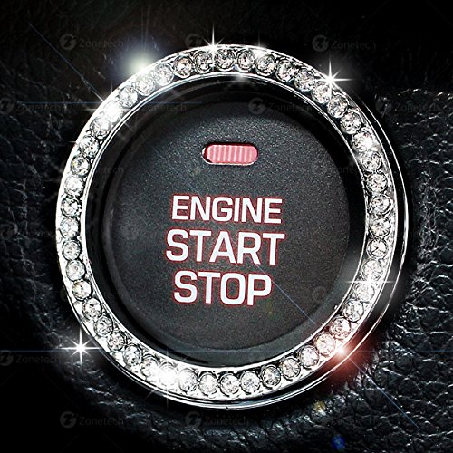 Chrystal Bling Ring Emblem Sticker- Zone Tech Rhinestone Start Engine- Ignition Button Car Key Knob-Interior Bling Push Button Auto- Decorative Decal Unique Silver Sparkly- Vehicle Rings Woman Car - Push Key Button