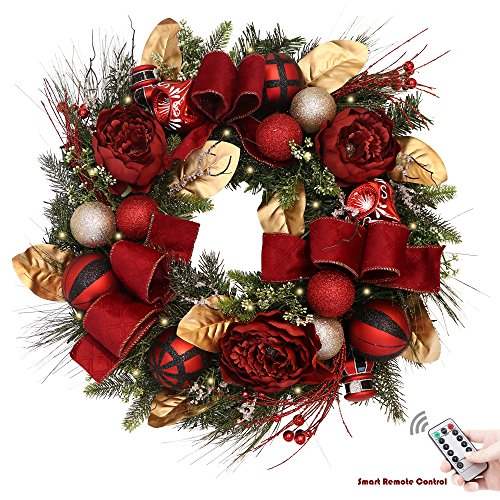 Valery Madelyn Pre-Lit 24 Inch Trendy Red and Black Christmas Wreath with Shatterproof Ball Ornaments, Velvet Ribbons and Artificial Simulation Flower, Battery Operated 20 LED Lights with Remote - Trendy Christmas