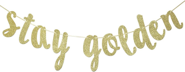 Amazon.com: Stay Golden Glitter Gold Banner, Golden Birthday ...