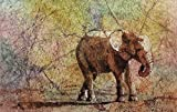 Original watercolor batik painting of elephant of elephant walking across savannah in Africa (unframed).