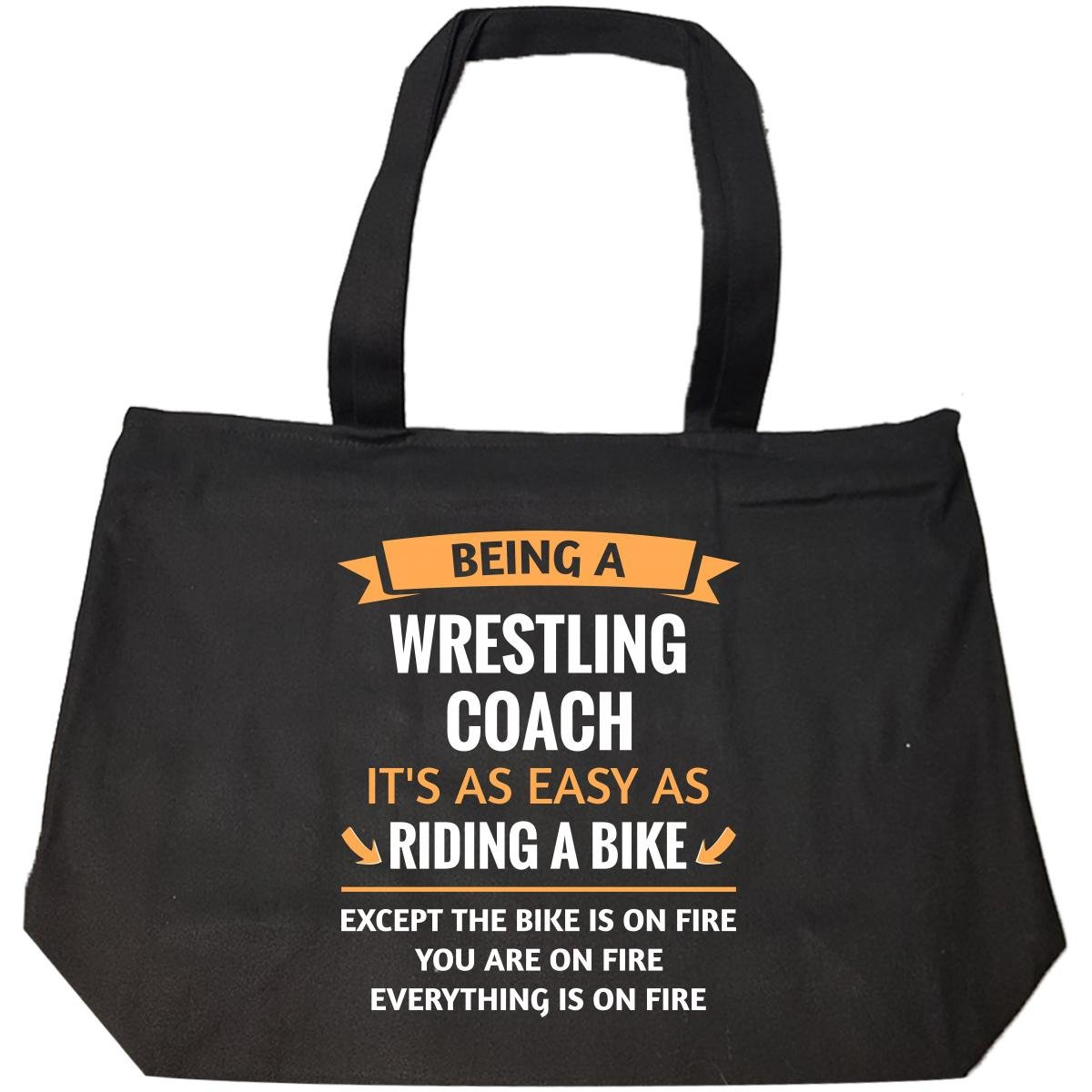 Funny Wrestling Coach Design Gift - Tote Bag With Zip by This Gift Rocks !