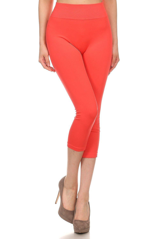 ICONOFLASH Women's Solid Color Seamless Capri Leggings