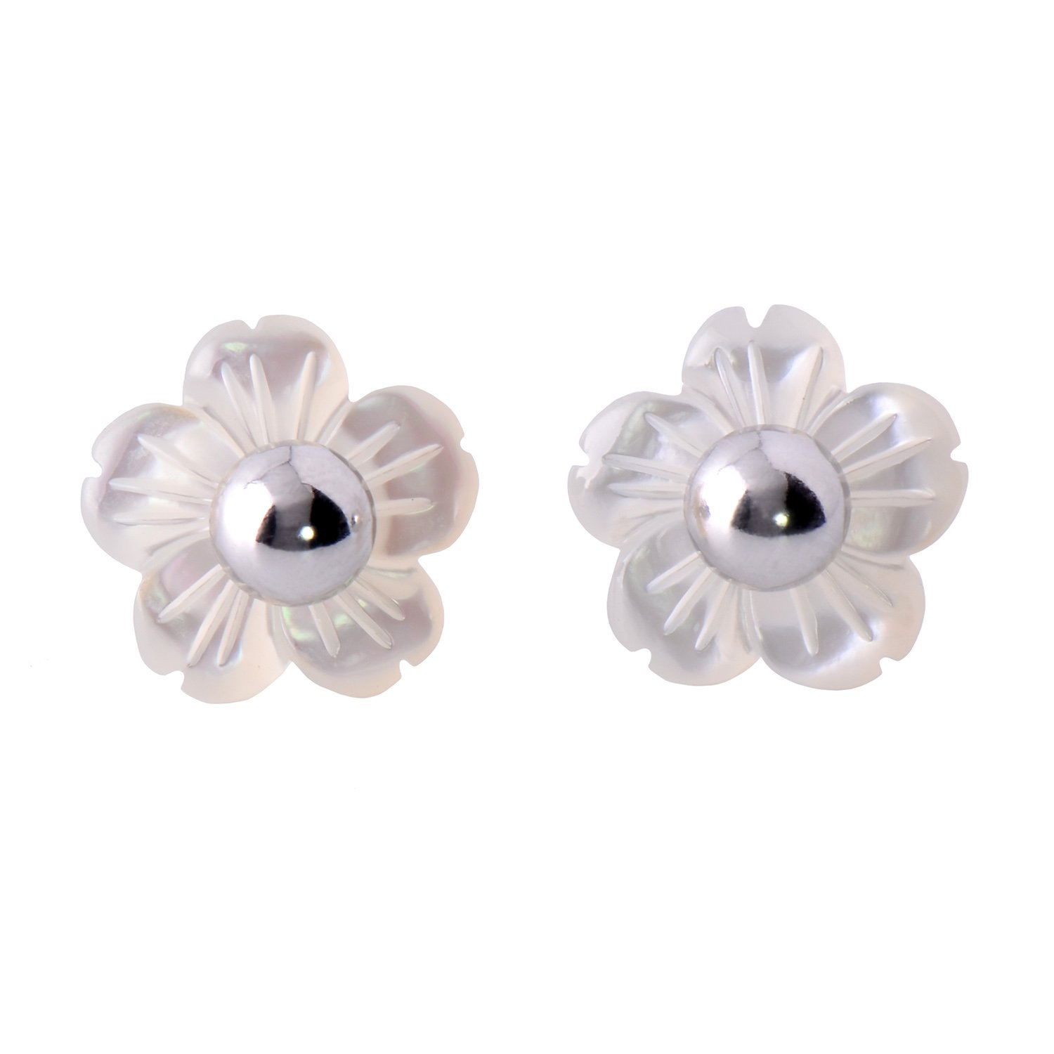 Paialco Mother of Pearl Flower Shape Earring Jackets Ball Silver Tone 6MM by Paialco