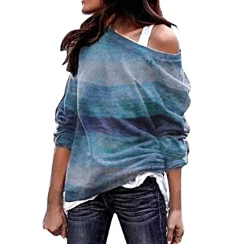 kingko® Damen Herbst Trägerlos Lose Oversize Langarm Top Sweatshirt  Gestreift Pullover Rundhalsausschnitt Warmer aus Wolle 1c0b344fd5