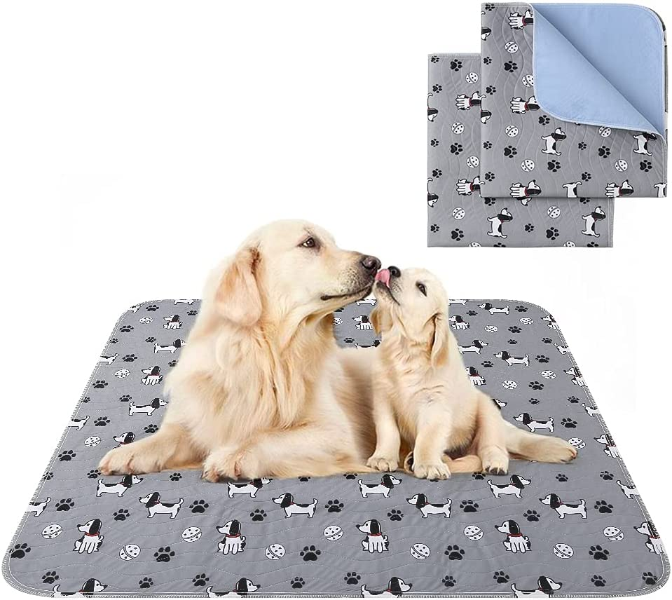 PAWCHIE Washable Pee Pads for Dogs, Non-Slip Reusable Pee Pads, Waterproof Puppy Potty Training Pad Whelping Mat, Pet Food Feeding Mat for Dogs Cats