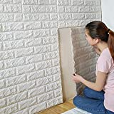 PrecisionDecor 3D Brick Wall Stickers Panel Self-Adhesive Peel and Stick White Faux Brick for Wall Decor 30X28INCH (20 PC)
