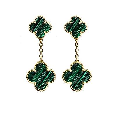 906558fb9 Amazon.com: Women S925 Sterling Silver Plated 18k Gold Malachite Four-leaf  Clover Double Fower Earrings, Leaf Van Cleef Onyx Clover Stud Earrings:  Jewelry