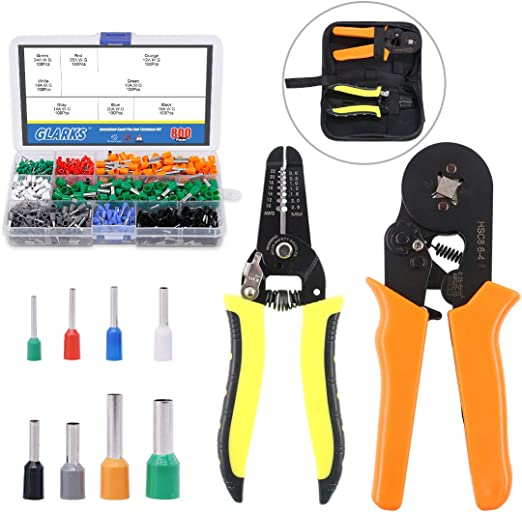 Ratcheting Adjustable Wire Terminal Crimpers Crimping Tool Color Coded 10-22 AWG