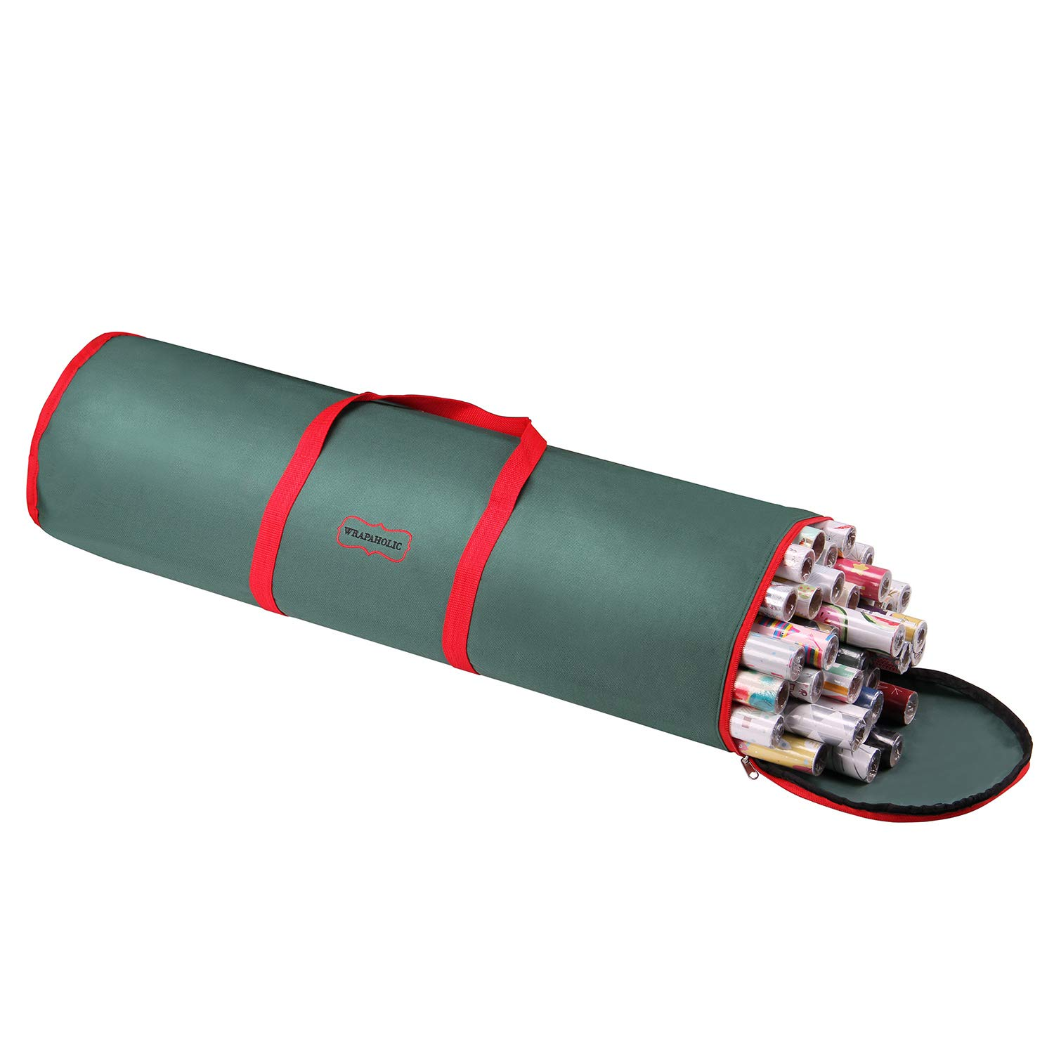 """WRAPAHOLIC Gift Wrapping Paper Storage - Gift Wrap Organizer Storage Bag with Handle - 31.5"""" Length (Dark Green)"""