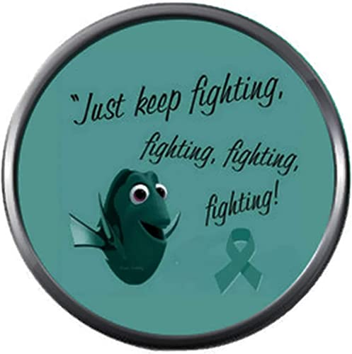 Amazon Com Dory Keep Fighting Ovarian Cancer Teal Ribbon Support Awareness Believe Find Cure 18mm 20mm Snap Jewelry Charm Jewelry