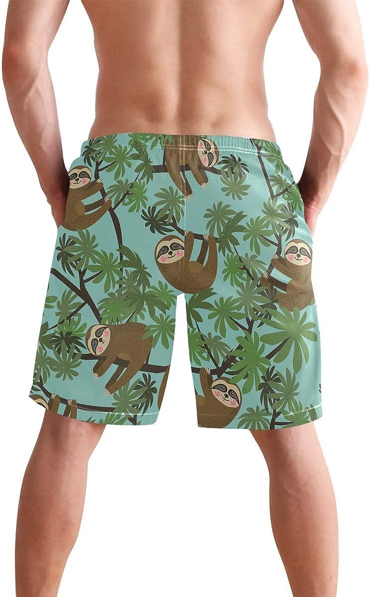 Mens Casual Medium Length Summer Drawstring Beach Shorts Surfing Trunks Pants Funny Bamboo