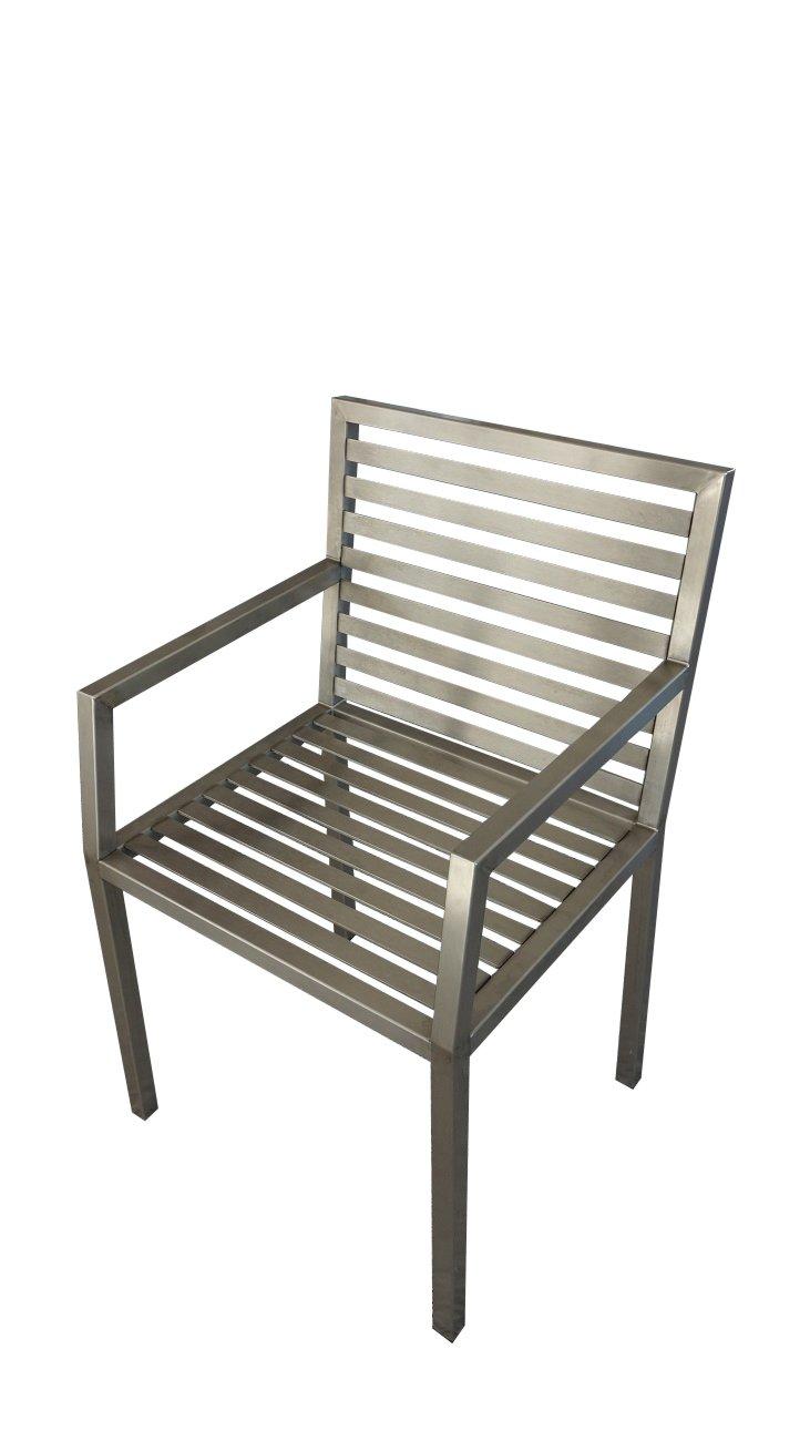 Stuhl aus Edelstahl, Modell Nacco E, mit Armlehne