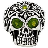 Regal Rogue Olive Green Cubic Zirconia Eyes Skull Sterling Silver