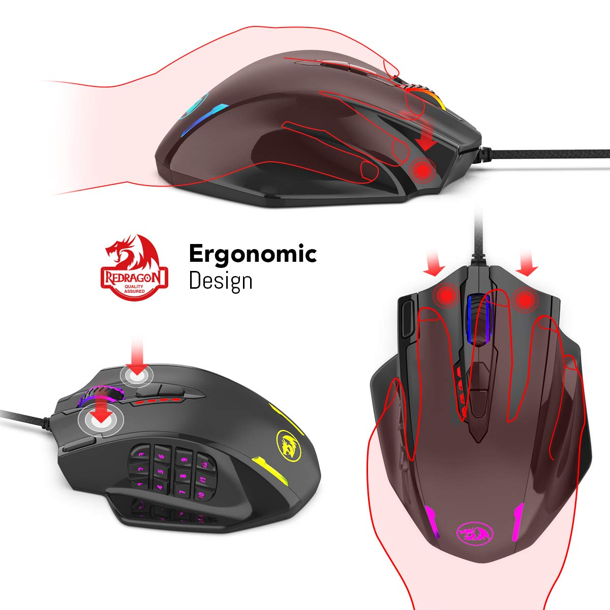 Redragon Impact RGB LED MMO Mouse with Side Buttons Laser Wired Gaming Mouse with 12,400DPI, High Precision, 19 Programmable Mouse Buttons by Redragon (Image #5)