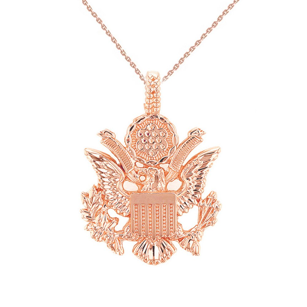 United States Great Seal in 10k Rose Gold Pendant Necklace, 18''