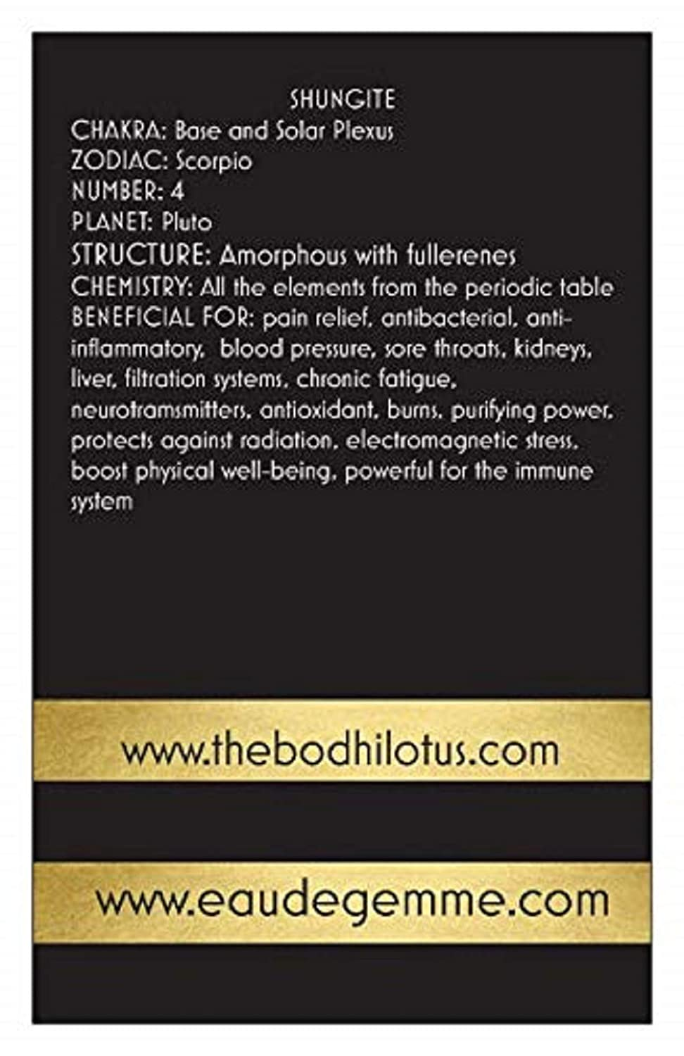 The Bodhi Lotus EAU DE GEMME Clear Quartz Shungite Gemstone Water Bottle Elixir 18 Oz Crystal Water Bottle Sports Crystal Clear Water Bottle With Shungite