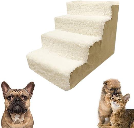 Qrfdian Luxus Haustiertreppe 4 Stufen Hund Katze Soft Fill Cover