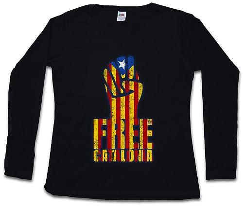 Urban Backwoods Free Catalonia Fist Woman Donna T-Shirt A Manica Lunga – Taglie XS – 2XL