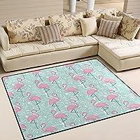 "ALAZA Tropical Pink Flamingo Area Rug Rug Carpet for Living Room Bedroom 5'3""..."