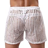 LASHER Mens Sexy Mesh Hollow Openwork Drawstring Lounge Underwear Boxers Shorts