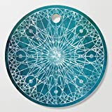 Society6 Wooden Cutting Board, Round, Rosette Window - Teal by erikfoxjackson