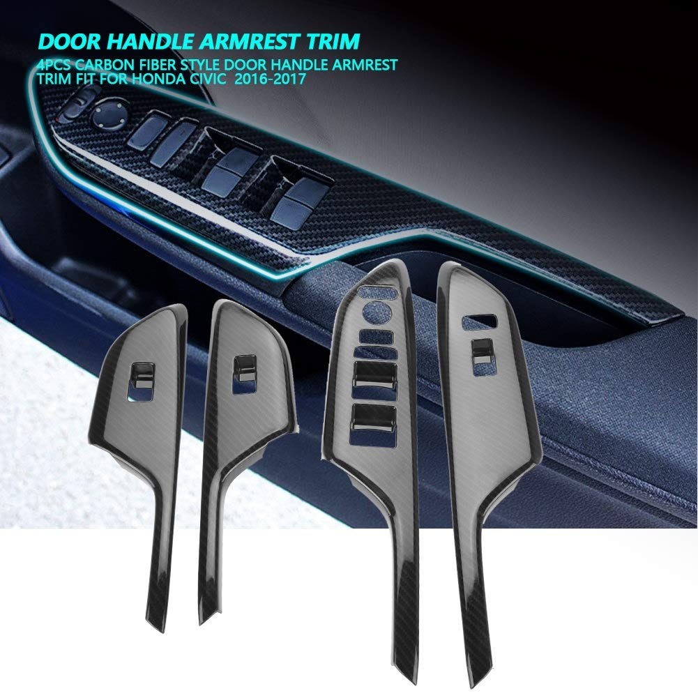 Car Door Armrest Cover-4Pcs Carbon Fiber Style Door Handle Armrest Trim Fit for Honda Civic 2016-2017 Right-hand Driving