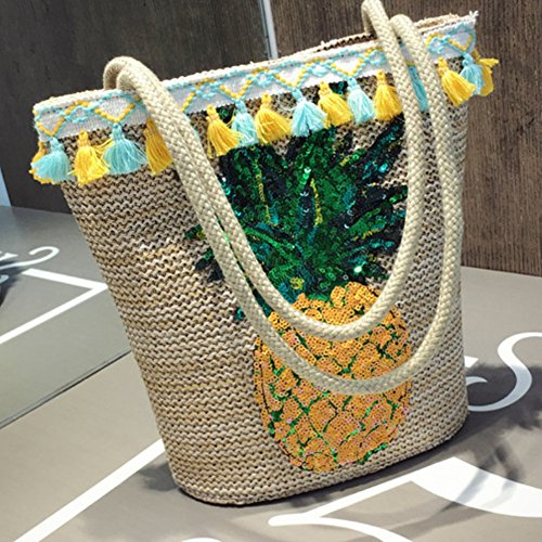 Shoulder Tote Bag Capacity Shopping Pattern Handbag Tote Beach Summer Women with Messenger Bags Cotton Lightweight Large Bag Women Tpineapple wvEnqS