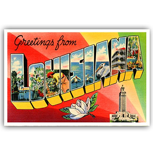- GREETINGS FROM LOUISIANA vintage reprint postcard set of 20 identical postcards. Large letter US state name post card pack (ca. 1930's-1940's). Made in USA.