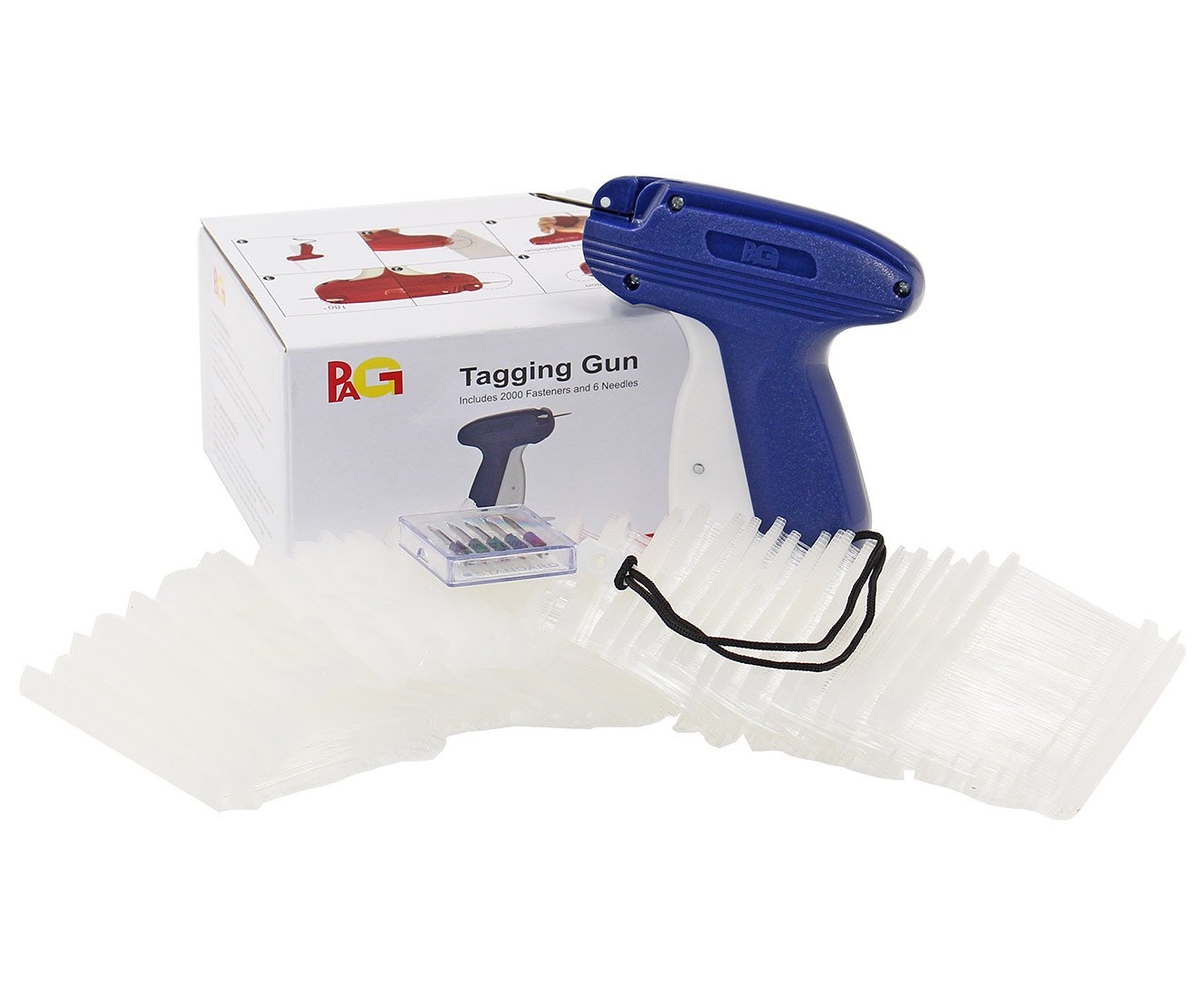 PAG New Upgrade Standard Tagging Gun Price Tag Attacher Gun for Clothing with 6 Needls and 2000 2 Barbs Fasteners Blue